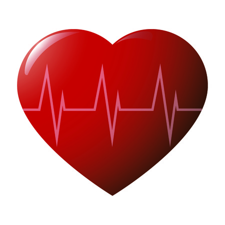 beguin: Red glossy heart with cardiogram on white background