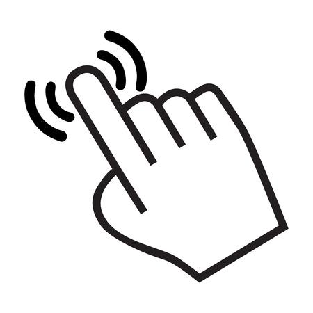 cursor icono de la mano con la sombra sobre fondo blanco