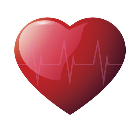 Red glossy heart with cardiogram on white background