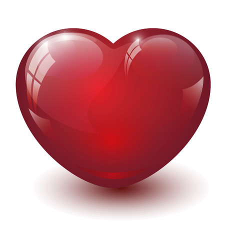 Red glass heart on white background photo