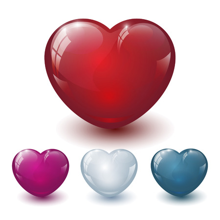 beguin: Colored glass heart  pattern on white background Stock Photo