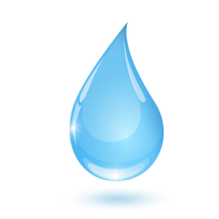 humidity: Blue drop towards water on white background