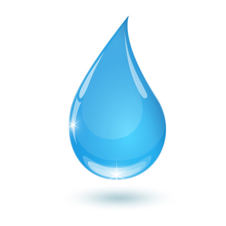 Blue drop towards water on white background