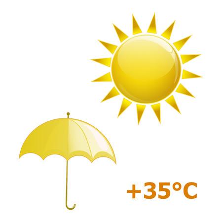 sonnenschirm: Sonnenschirm und Sonne auf wei�em Hintergrund Illustration