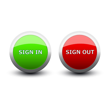 tele: buttons sign in and out on a white background Illustration