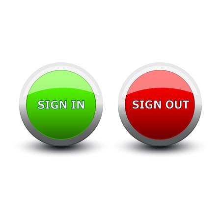 sign in: Tasten anmelden und auf einem wei�en Hintergrund