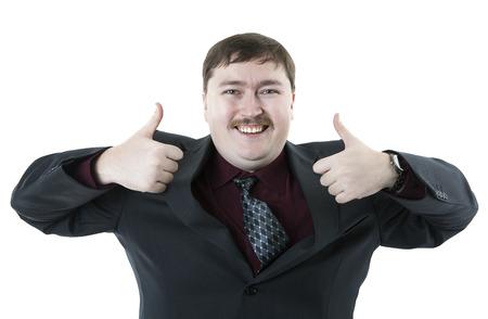 exclaiming: joyfully exclaiming man businessman on a white background