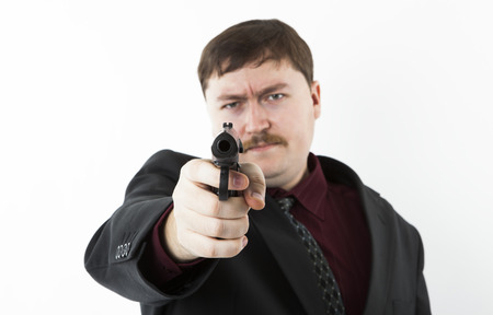 man aiming at you on a white background photo