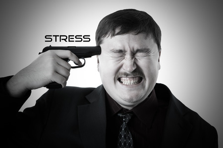doldrums: man aiming his head on a white background Stock Photo