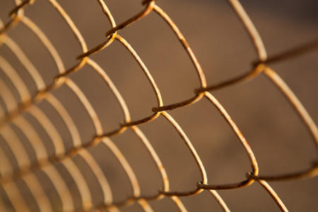 large metal grille from the fence closeup Stock Photo