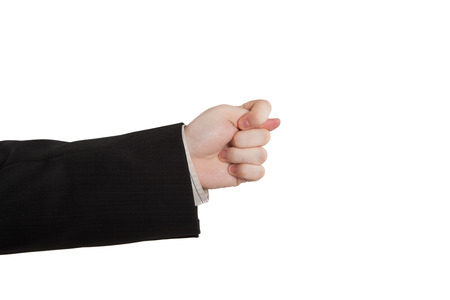 indicates: mans hand indicates greed on a white