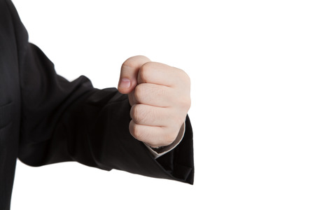 indicates: mans hand indicates fist on a white