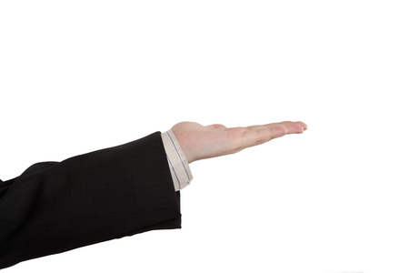 delivers: male hand palm delivers petitions on a white background Stock Photo
