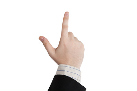 homily: male hand showing one finger on a white Stock Photo