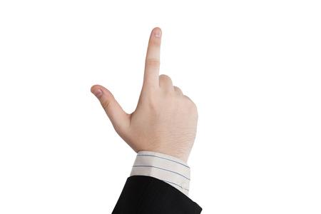 natation: mano masculina que muestra un dedo sobre un fondo blanco Foto de archivo