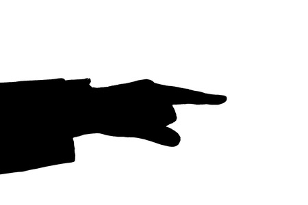 consensus: mans hand indicates black on a white Stock Photo