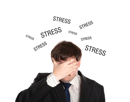 doldrums: businessman in stress on a white background