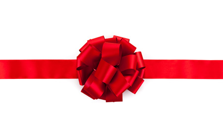 red sheet: red ribbon with a bow on a white