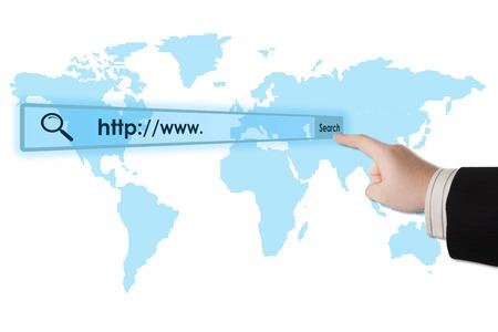 address bar: mans hand clicks on the address bar closeup