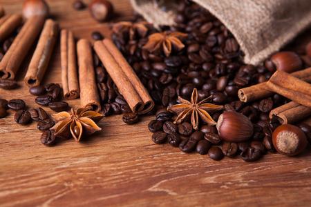 cobnut: roasted coffee and cinnamon sticks closeup