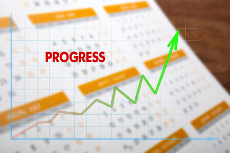 tabulation: colored wall calendar with diagram progress closeup and macro