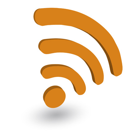 wi fi icon: Label WiFi blue color on a white 3d