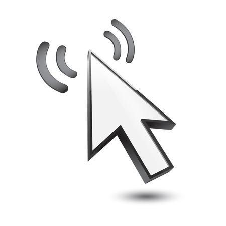 3d cursor: cursor 3d icon waves on a white Illustration