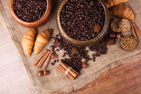 desiccated: roasted coffee beans in a bamboo basket still life