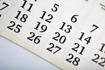 dispositions: white calendar days with numbers close up Stock Photo