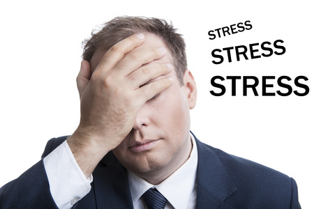 doldrums: business in stress isolated on a white background