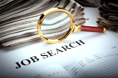 job opening: office supplies and job search close up