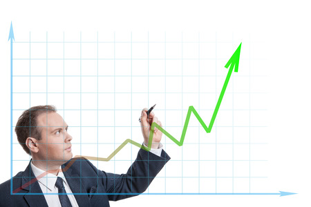 pragmatic: businessman drawing chart isolated Stock Photo