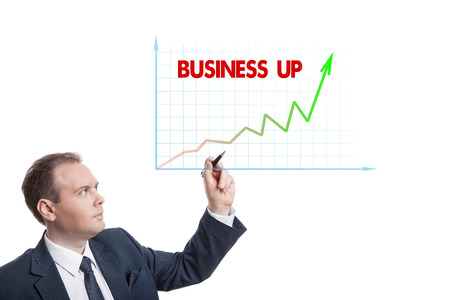 pragmatic: businessman drawing chart with text isolated