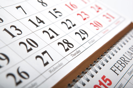 dispositions: wall calendars laid on the table close up Stock Photo