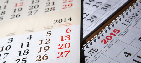 dispositions: calendars laid on the table close up