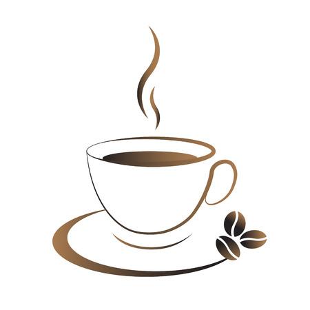 白い背景の上のホット コーヒー カップのアイコン