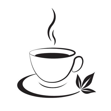 Tea cup icon black on a white background Ilustração