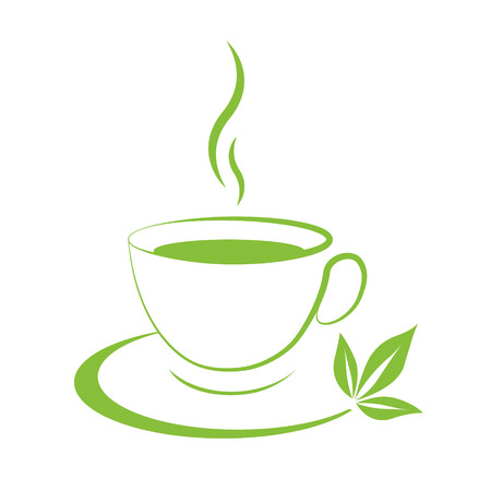 Tea cup icon green  on a white background