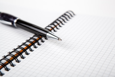 pen on a notebook into a cell close up Stock Photo