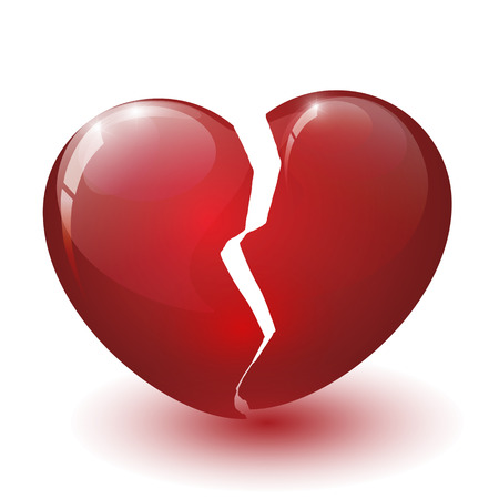 glossy broken heart on a white background Stock Photo