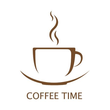 白い背景の上のホット コーヒー カップ ベクトル  イラスト・ベクター素材