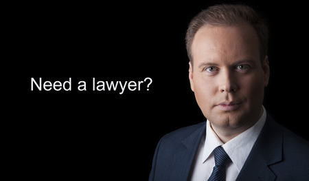 sightly: lawyer with an icon on a black background Stock Photo