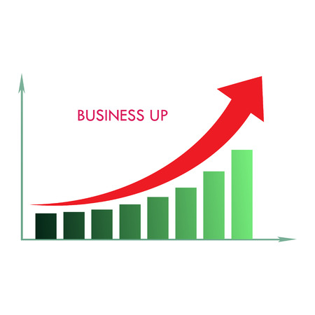 teaching crayons: arrow diagram business up isolated on a white Illustration