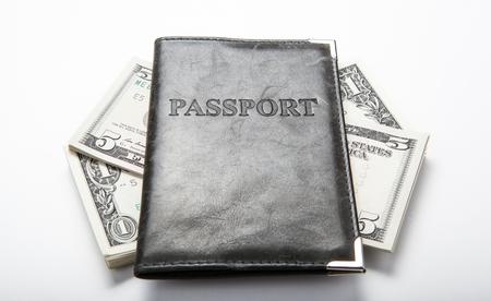 creditworthiness: passport with dollar bills Stock Photo