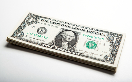 creditworthiness: pack of dollars close up on the table Stock Photo