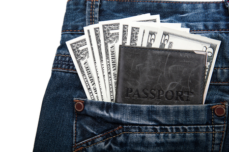 creditworthiness: money with a passport in your pocket close up Stock Photo
