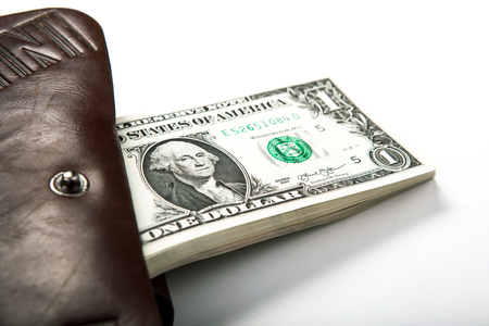 creditworthiness: spending money in your wallet close up Stock Photo
