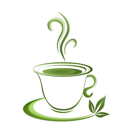 Tea cup icon green grad on a white background
