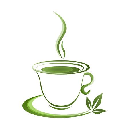 grad: Tea cup icon green grad on a white background