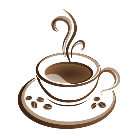 hot coffee cup vector on a white background